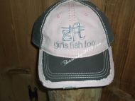 GFT girls fish too pink and Brown gray distressed hat unstructured
