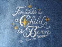 Embroidered For unto us Hand Towel