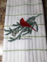 Embroidered Red Cardinal on Branch  Hand Towel or Kitchen Towel