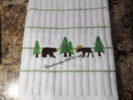 Embroidered Northwoods  Hand Towel or Kitchen Towel