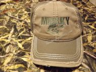 Musky Distressed Cap Hat  Tan and Olive Embroidered
