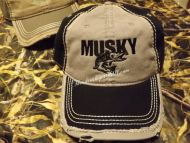 Musky Distressed Cap Hat Embroidered