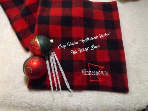 Northwoods Neckin  Minnesnowta Red and Black Plaid Fleece