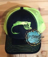 Bass Hook Cap Lime and Black Hat Embroidered