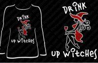 Halloween Rhinestone Drink up Witches T-shirt