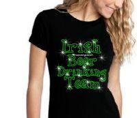 Irish Beer Drinking Team Ladies Glitter T-shirt