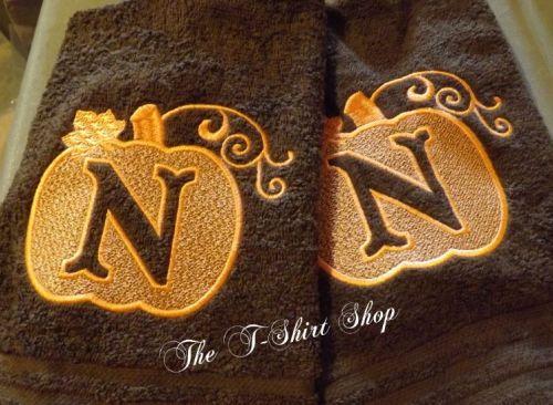 Monogram Embroidery Pumpkin Hand Towel