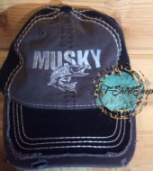 Musky Muskie Black and Gray Distressed Hat Embroidered