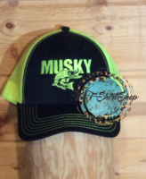Musky Muskie Cap Lime and Black Hat Embroidered