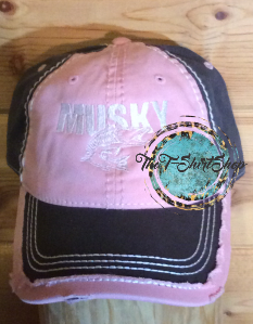 Musky Muskie Pink and Graybrown Hat Embroidered